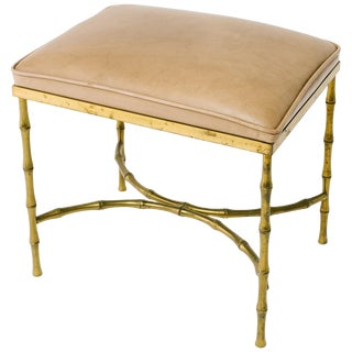 1950s Faux Bamboo Brass Bench For Sale