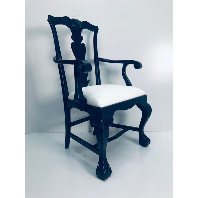 1960s 1960s Vintage Traditional Oak Chippendale Chairs - Set of 4 For Sale - Image 5 of 9