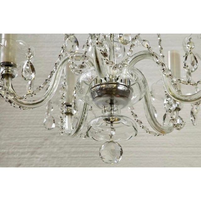 French All Crystal Five Light Chandelier with Waterfall Beading - Image 6 of 7