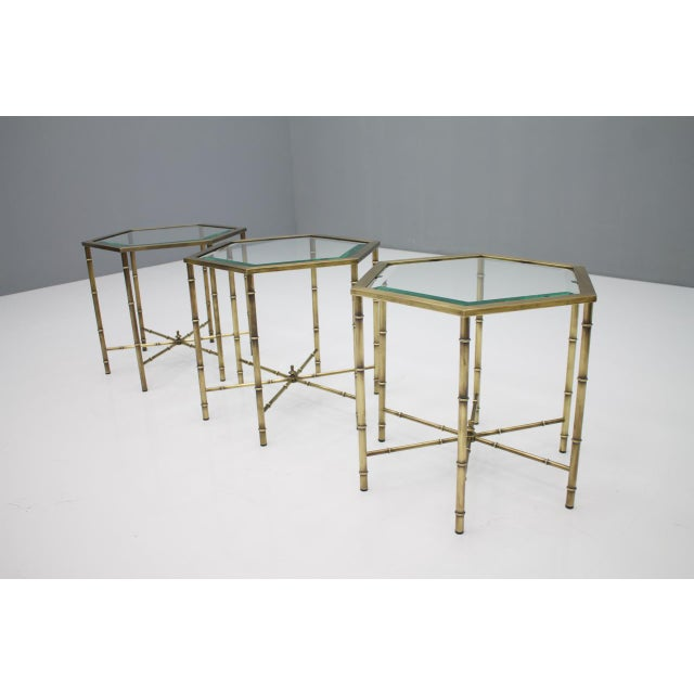 Set of Three Octagonal Side Table in Brass and Glass, 1970s For Sale - Image 9 of 12