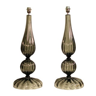 1980s Murano Glass Smokey Table Lamps - a Pair For Sale