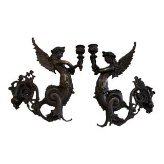 Continental Bronze Figural Sconces