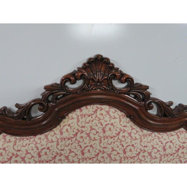 Carved mahogany queen size rococo style headboad, upholstered back