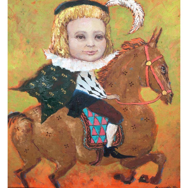 Paint 1990s Vintage Russian Whimsical Paintings by Elena Kallistova- A Pair For Sale - Image 7 of 13