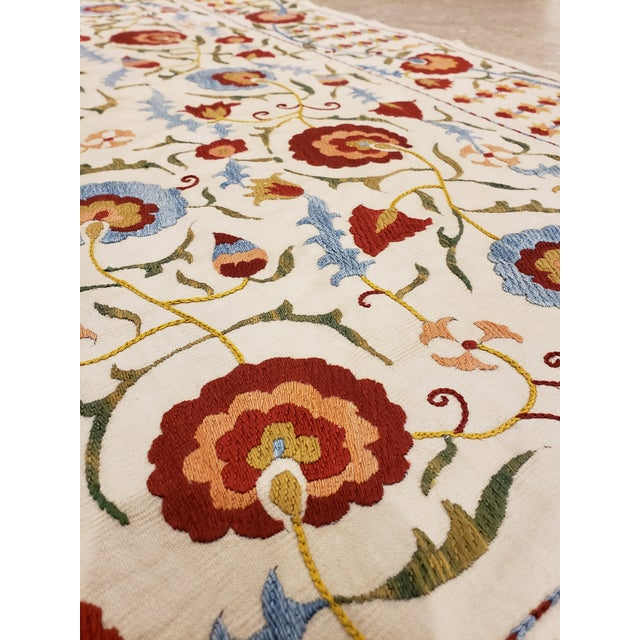 Late 20th Century 20th Century Asian Suzani Textile Rug - 3'5x3'7 For Sale - Image 5 of 10