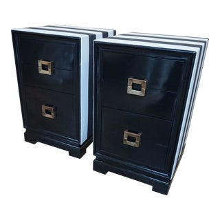 1950s Asian Modern Black and White 3-Drawer Nightstands - a Pair For Sale