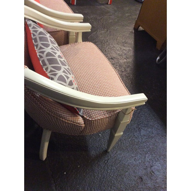 Orange and Ivory CustomUpholstered Chairs - A Pair - Image 6 of 6