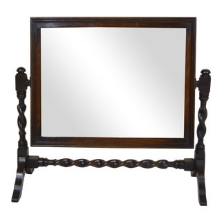 Vintage Barley Twist English Table Mirror on Stand For Sale