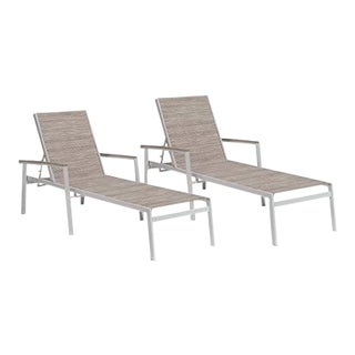 Outdoor Sling Chaise Lounge, Vintage and Beige (Set of 2) For Sale