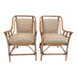Chippendale Rattan Arm Chairs - a Pair