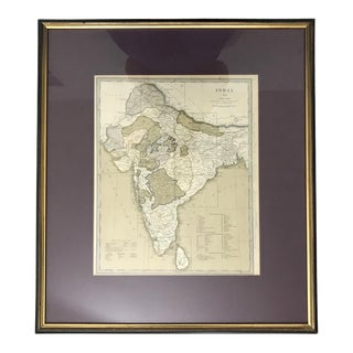 19th. Century Antique Hand Coloured Framed Map of British Possessions & Protectorates in India and Ceylon 1835 by John & Charles Walker For Sale