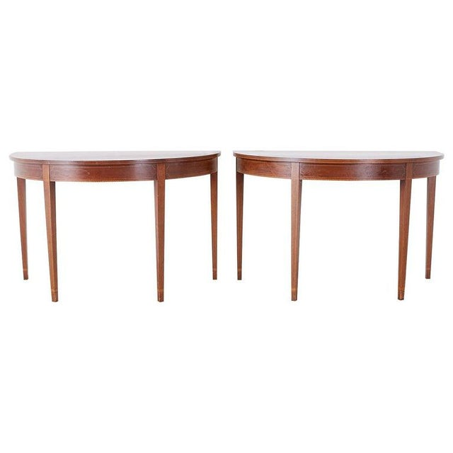 American Hepplewhite Style Demilune Console Tables - a Pair For Sale - Image 13 of 13