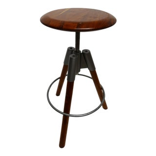 Modern Three Leg Wood & Metal Adjustable Height Swivel Stool For Sale