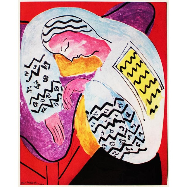 "A stunning original period tipped-in lithograph after painting ""Le Rêve"" (The Dream, 1940) by Henri Matisse. Signed in the..."
