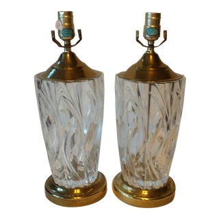 Vintage Crystal Cut Glass Lamps - A Pair