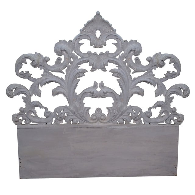 Vintage Rococo Painted Carved Wood Queen Headboard - Image 1 of 10