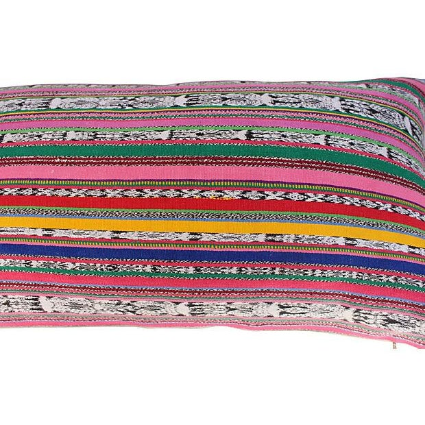 Boho Chic Colorful Striped Ikat Pillows - A Pair For Sale - Image 3 of 5