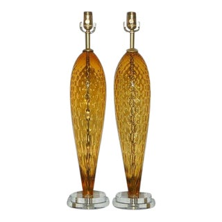 Vintage Murano Glass Lamps Butterscotch For Sale