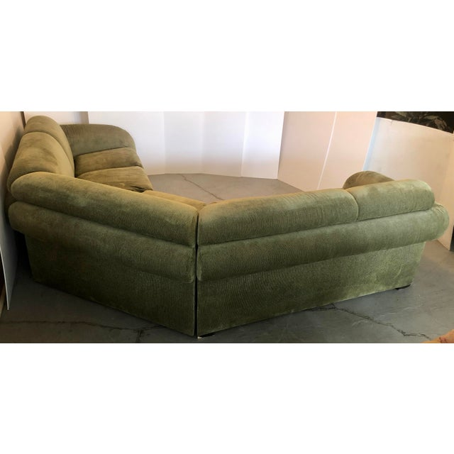 Olive Green 3 Piece Sectional From 80s For Sale - Image 10 of 13