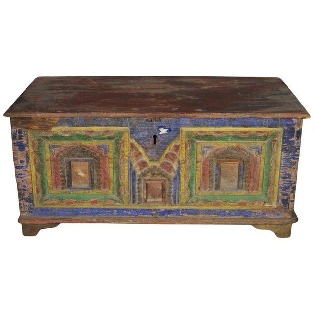 Antique Indian Hand-Carved and Painted Trunk with Patina, 19th Century For Sale - Image 11 of 11