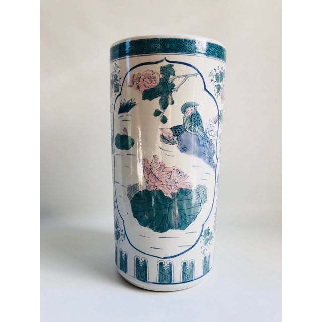 Green Vintage Chinoiserie Pink, Blue, Lavender & Green Chinese Porcelain Umbrella Holder For Sale - Image 8 of 8