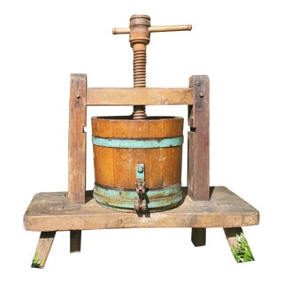 19th Century Primitive Iron Banded Oak Stave Wine Press For Sale