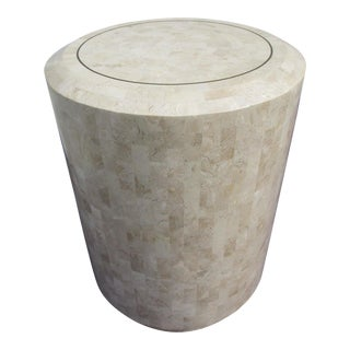 Contemporary Maitland-Smith Tessellated Coral Stone Pedestal Table For Sale