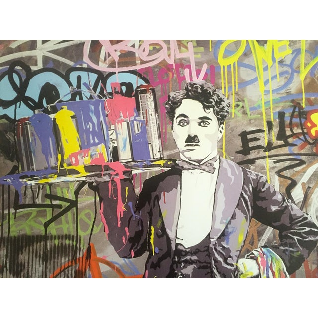 "Lithograph Mr. Brainwash "" Charlie Chaplin "" Original Lithograph Print Pop Art Poster For Sale - Image 7 of 11"