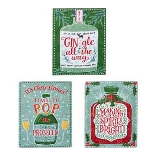 Kenneth Ludwig Chicago Christmas Holiday Bar Signs - Set of 3 For Sale