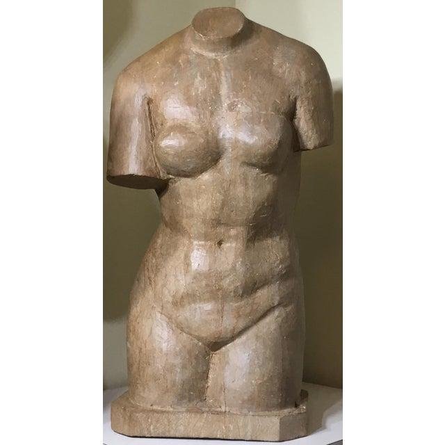 Vintage Marble Female Torso Statue For Sale - Image 11 of 11