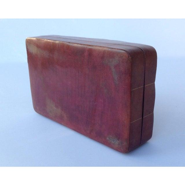 Italian Leather Hand-Tooled Embossed Lidded Keepsake Box For Sale - Image 10 of 11
