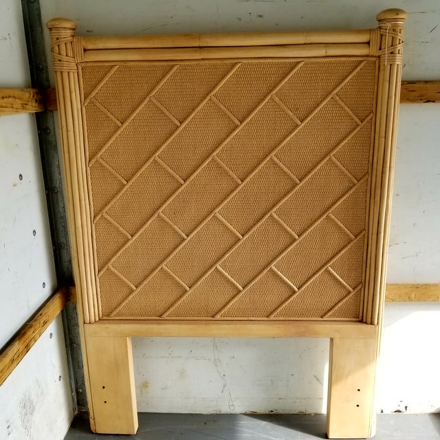 Asian Rattan Bamboo Chippendale Twin Headboard For Sale - Image 3 of 3