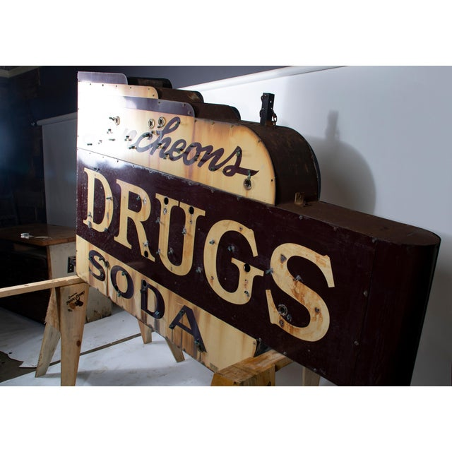 1910s Industrial Soda Fountain & Drug Store Sign For Sale - Image 4 of 7