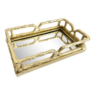 Hollywood Regency Gold Faux Bamboo Mirrored Guest Towel Tray For Sale