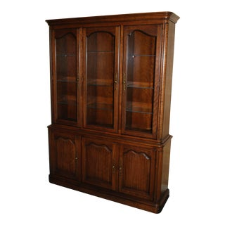 1980's French Provincial Kindel Cherrywood China Hutch