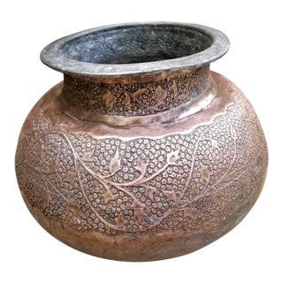 Antique Copper Pakistani Large Curry Pot For Sale