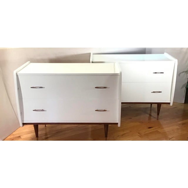 Europe origin, pair of Italian oversized chests in the Manner of Gio Ponti. Professionally restored in plain bright white...