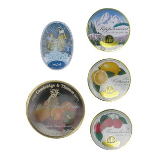 French & English Candy Tins, Set of 5 For Sale