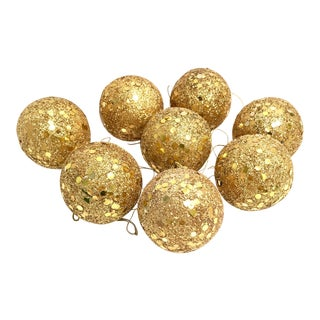 Vintage gold glitter Spangle ball ornaments - Set of 8