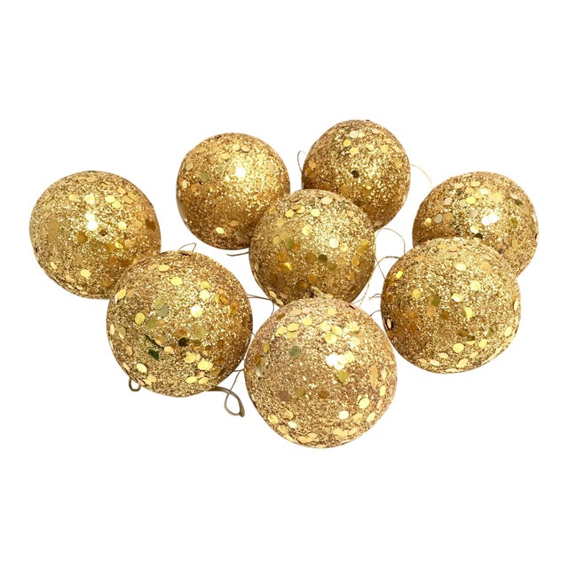 Vintage gold glitter Spangle ball ornaments - Set of 8 For Sale