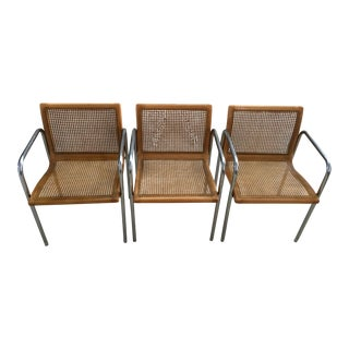 Milo Baughman Cane & Chrome Armchairs - Set of 3