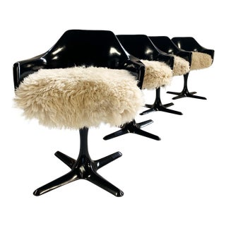 Burke Inc Tulip Style Armchairs With Custom California Sheepskin Cushions - Set of 4 For Sale