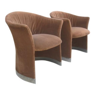 1970s Vintage Shelby Williams Tub Barrel Side Lounge Arm Chairs- a Pair For Sale