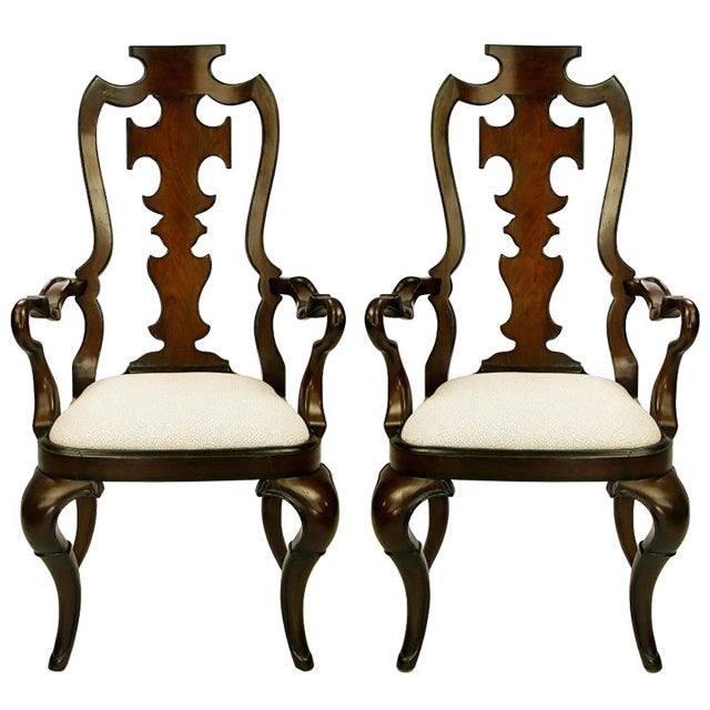 Pair of High Back Carved Walnut Gothic Style Armchairs For Sale - Image 9 of 9