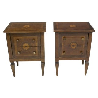19th Century Neoclassical Giuseppe Maggiolini Style Marquetry Nightstands / Side Tables - a Pair For Sale