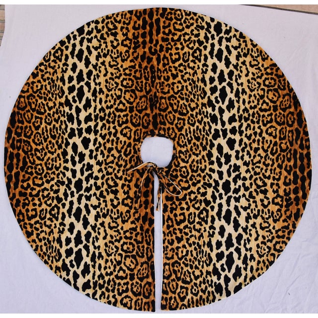 """X-Large 55"""" Custom-Tailored Leopard Velvet Christmas Tree Skirt For Sale - Image 9 of 10"""