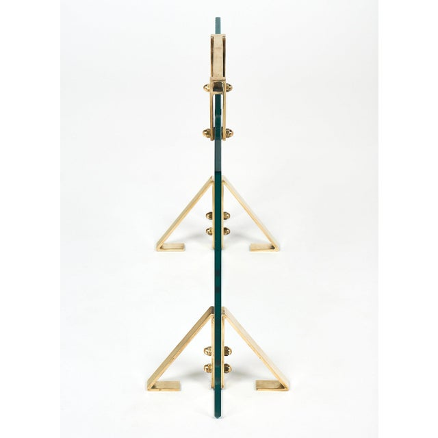 Brass Mid-Century Glass & Brass Fire Screen attributed to Jacques Adnet For Sale - Image 7 of 10