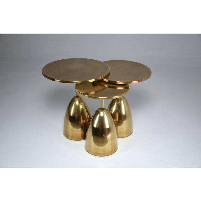 Pair of Contemporary Handcrafted Brass Side Tables, Flow Collection For Sale - Image 10 of 13