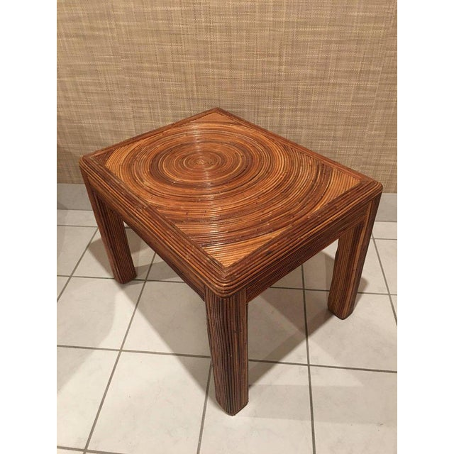 Hollywood Regency Pencil Reed Rattan Side End Table For Sale - Image 3 of 8