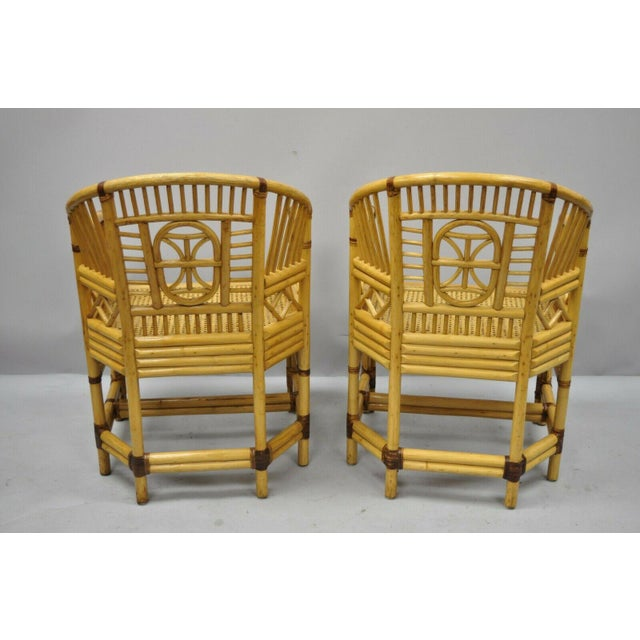 Mid 20th Century Vintage Brighton Pavilion Style Bamboo & Cane Rattan Arm Chairs- A Pair For Sale - Image 5 of 11